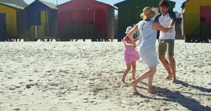 Multi-generation family playing ring around the rosie at beach stock video footage