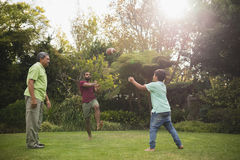 Multi generation family playing with rugby ball at park stock photography