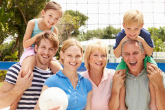 Multi Generation Family Playing Volleyball Together Royalty Free Stock Photos
