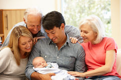 Multi-generation family portrait stock images
