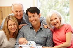 Multi-generation family portrait royalty free stock photography