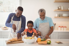 Multi-generation family preparing food in kitchen. Happy multi-generation family preparing food in kitchen at home royalty free stock photos