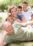 Multi-generation family realxing in park stock image