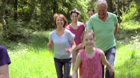 Multi-Generation Family Running Along Woodland Path Together stock video