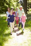 Multi Generation Family Running Through Summer Countryside Stock Photography