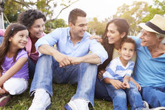 Multi Generation Family Sitting In Park Together Stock Images