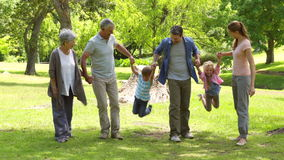 Multi generation family smiling and holding hands in a park Stock Image
