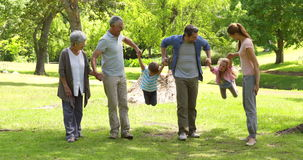 Multi generation family smiling and holding hands in a park Royalty Free Stock Photography