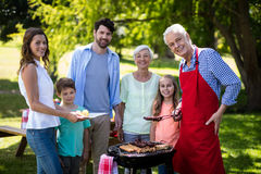 Multi generation family standing near the barbeque in park Royalty Free Stock Photos
