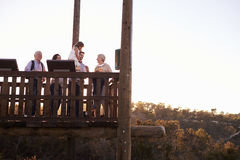 Multi Generation Family Standing On Outdoor Observation Deck Stock Photos