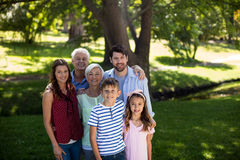 Multi generation family standing in park Royalty Free Stock Image