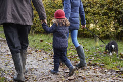 Multi Generation Family Take Dog For Walk In Fall Landscape Royalty Free Stock Image