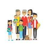 Multi generation family together, grandfather grandmother and grandchildren with pets on white background, tree of genus. Happy family concept, flat cartoon vector illustration