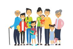 Multi generation family together, grandfather grandmother and grandchildren on white background, tree of genus happy. Family concept, flat cartoon design vector vector illustration