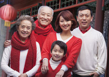 Multi-generation Family in Traditional Chinese Courtyard Royalty Free Stock Photos