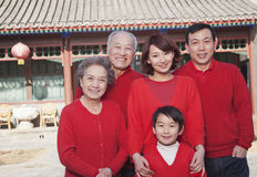 Multi-generation Family in Traditional Chinese Courtyard Royalty Free Stock Image