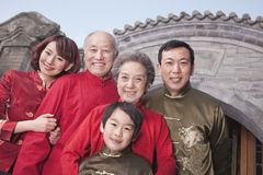 Multi-generation Family in Traditional Chinese Courtyard Royalty Free Stock Photography