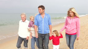 Multi Generation Family Walking Along Beach Together stock video