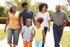Multi Generation Family Walking In Park Together Stock Photography