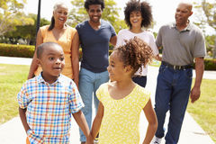 Multi Generation Family Walking In Park Together Stock Image