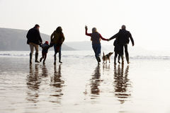 Multi Generation Family Walking On Winter Beach With Dog Stock Photos