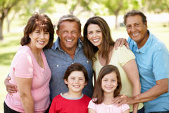 Multi generation Hispanic family in park Royalty Free Stock Photo