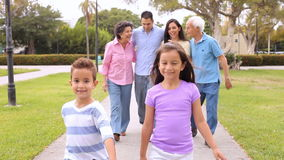 Multi Generation Hispanic  Family Walking In Park stock footage