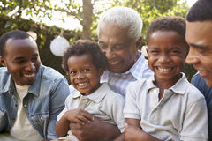 Multi generation male family members gathered in a garden Royalty Free Stock Photo
