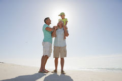 Multi-generation men on sunny beach Royalty Free Stock Image