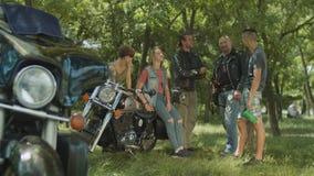 Multi generation people sharing bikers values stock video