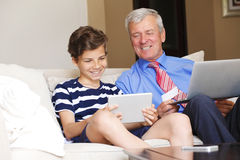 Multi generation shopping online Royalty Free Stock Images