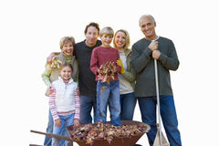 Multi-generational family in autumn, smiling, portrait, cut out Royalty Free Stock Photo