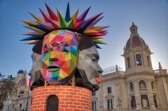 Multi-gesichtiger Kopf von Fallas-Statue Lizenzfreie Stockbilder