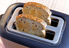 Multi-grain bread in toaster. Roasted multi-grain bread popping up from toaster machine Royalty Free Stock Photos