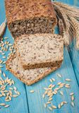 Multi-grain bread on a wooden background. Healthy food concept. stock images