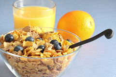 Multi grain cereal with blueberry. And orange juice Royalty Free Stock Photos