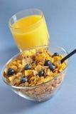 Multi grain cereal with blueberry 2. Multi grain cereal with blueberry and orange juice Stock Image