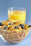 Multi grain cereal with blueberry 3. Multi grain cereal with blueberry and orange juice Stock Photos