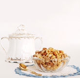 Multi-grain Cereal Served in Vintage Dishes Royalty Free Stock Photography
