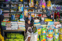 Multi grocery stores. KOTA BHARU - JUNE 23: Siti Khadijah Central Market coming alive in the morning on June 23, 2016 in Kota Bharu, Kelantan, Malaysia. The Stock Photography
