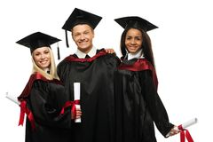 Multi gruppo etnico di studenti graduati Immagine Stock