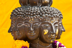 Multi headed metallic buddha staue Stock Image