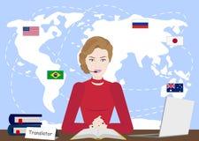 Multi het conceptenillustratie van de taalvertaler Meisje op computer die verschillende talen spreken die vertaling app gebruiken stock illustratie