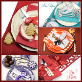 Multi holiday dining table place settings collage. Of five colorful images for Christmas, New Year, Easter, Valentines Day and Halloween Royalty Free Stock Photography