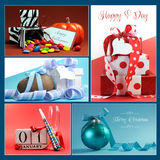 Multi holiday symbols and gifts collage Stock Image