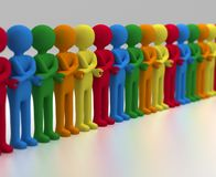 Multi Joined in Unity. 3D rendering of a chain of multicolored people crossing arms and joining hands Stock Photos