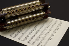 Multi key Harmonica on sheet music royalty free stock image