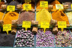 Multi kinds of spices and fragrant ingredients sold in the famous Spice Bazaar in Istanbul. Spice Bazaar in Istanbul so famous for selling multi kinds of spices royalty free stock images