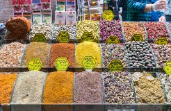 Multi kinds of spices and fragrant ingredients sold in the famous Spice Bazaar in Istanbul. Spice Bazaar in Istanbul so famous for selling multi kinds of spices stock image