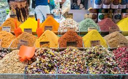Multi kinds of spices and fragrant ingredients sold in the famous Spice Bazaar in Istanbul. Spice Bazaar in Istanbul so famous for selling multi kinds of spices stock images